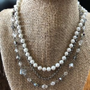 Cookie Lee Pearl Crystal Necklace
